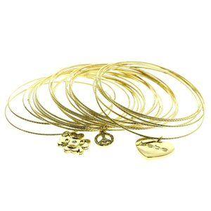 Bebe 21 pc gold bracelet set with charms